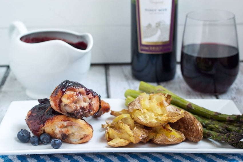 Barbecue Chicken with Pinot Blueberry Sauce from The Girl In The Little Red Kitchen