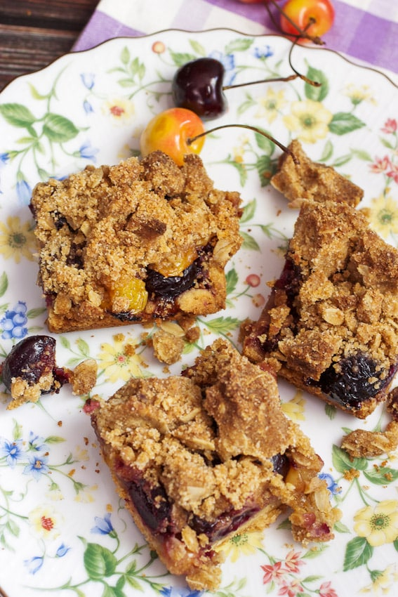 Cherry Pie Crumb Bars #SundaySupper from The Girl In The Little Red Kitchen