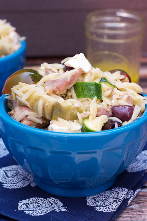 Greek Chicken and Orzo Salad #WeekdaySupper #ChooseDreams from The Girl In The Little Red Kitchen