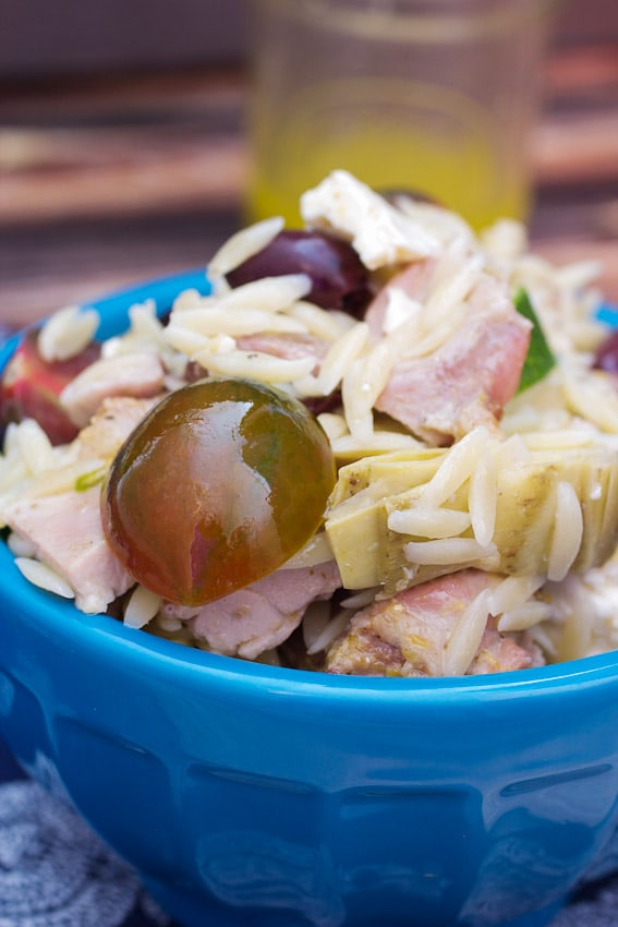 Greek Chicken and Orzo Salad from The Girl In The Little Red Kitchen