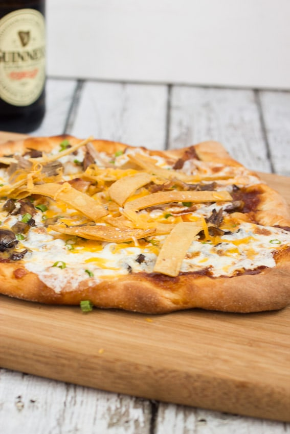 BBQ Porkabella Pizza | Pulled pork and Portabella Mushroom topped pizza from The Girl In The Little Red Kitchen