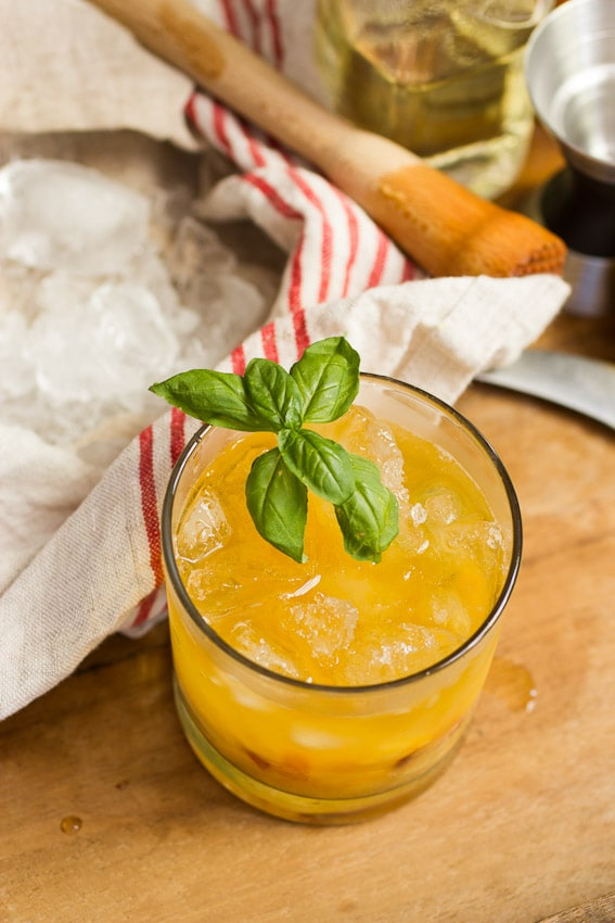 Bourbon Peach Basil Smash from The Girl In The Little Red Kitchen