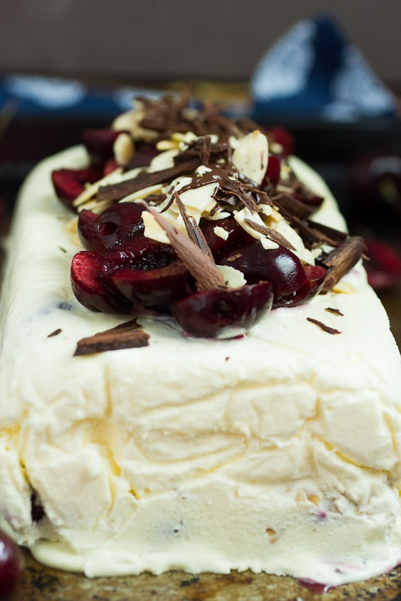 Cherry Almond Semifreddo from The Girl In The Little Red Kitchen