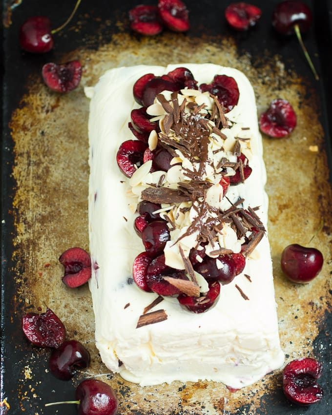Cherry Almond Semifreddo #IceCreamWeek from The Girl In The Little Red Kitchen
