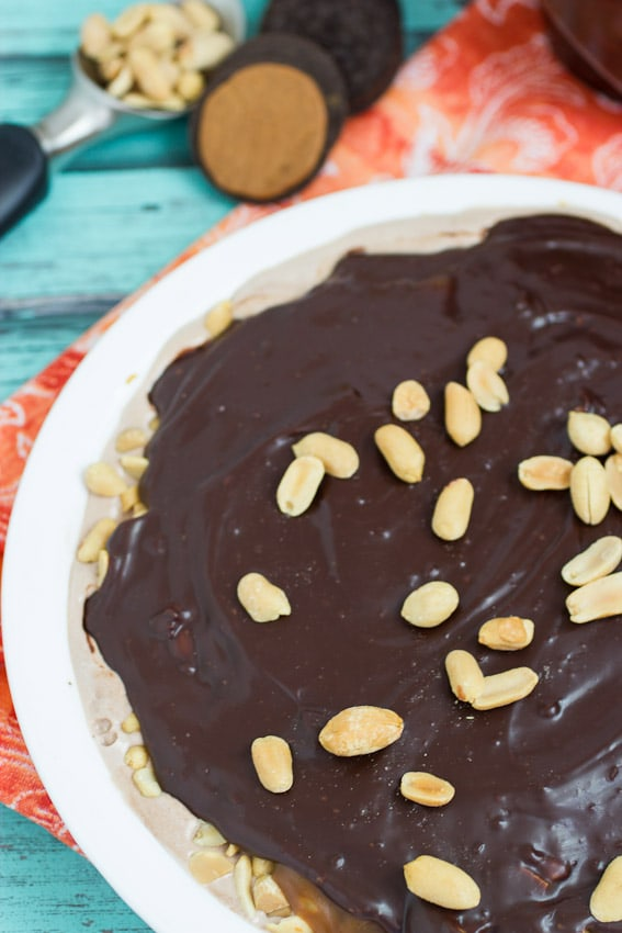 Chocolate Peanut Butter Caramel Ice Cream Pie from The Girl In The Little Red Kitchen