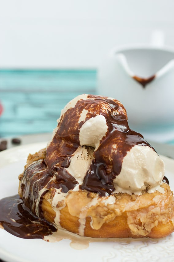 Coffee and Donuts Ice Cream Sundae #IceCreamWeek from The Girl In The Little Red Kitchen