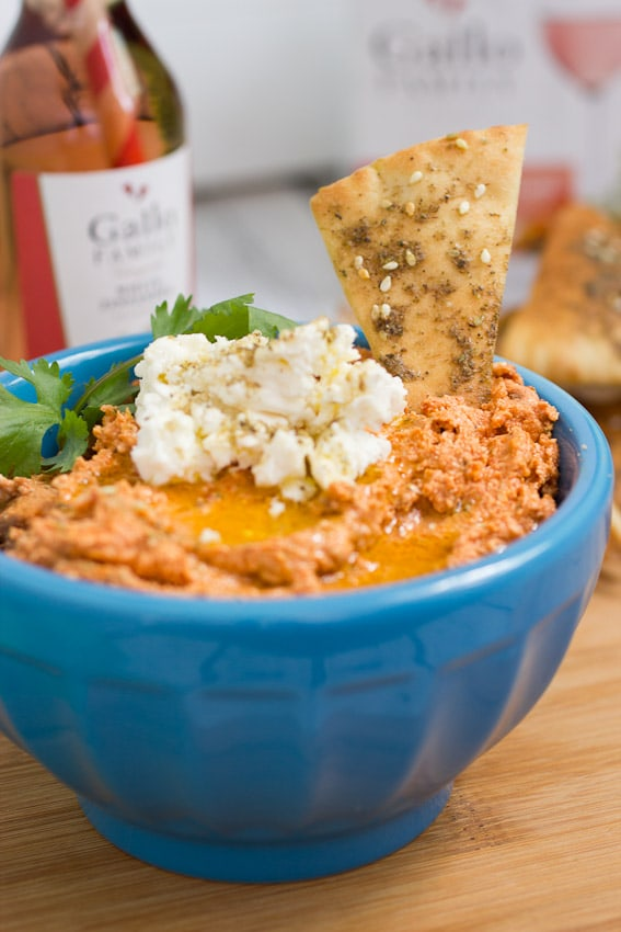 Sun-dried Tomato and Feta Dip #SundaySupper from The Girl In The Little Red Kitchen