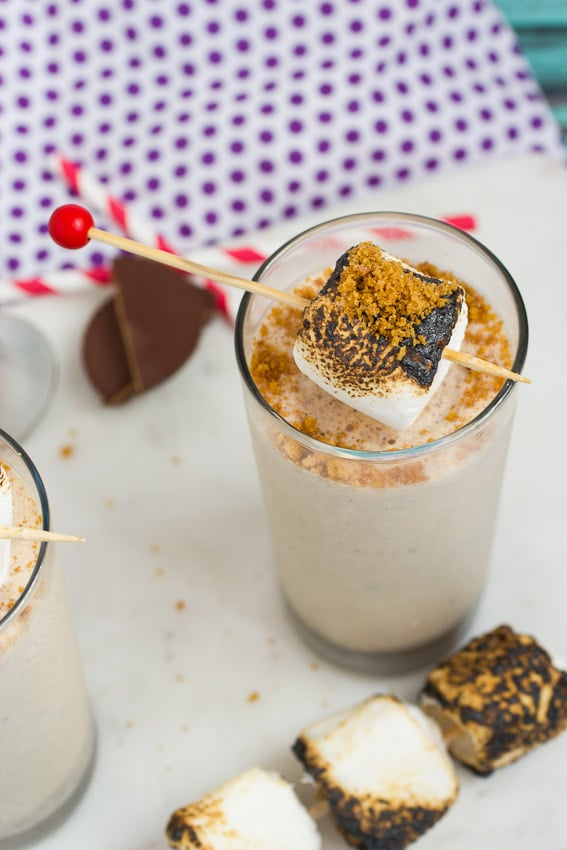 Peanut Butter Cup S'more Shakes from The Girl In The Little Red Kitchen