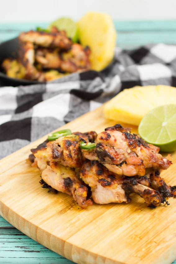 Pineapple Chile Lime Chicken Wings #10DaysofTailgate from The Girl In The Little Red Kitchen