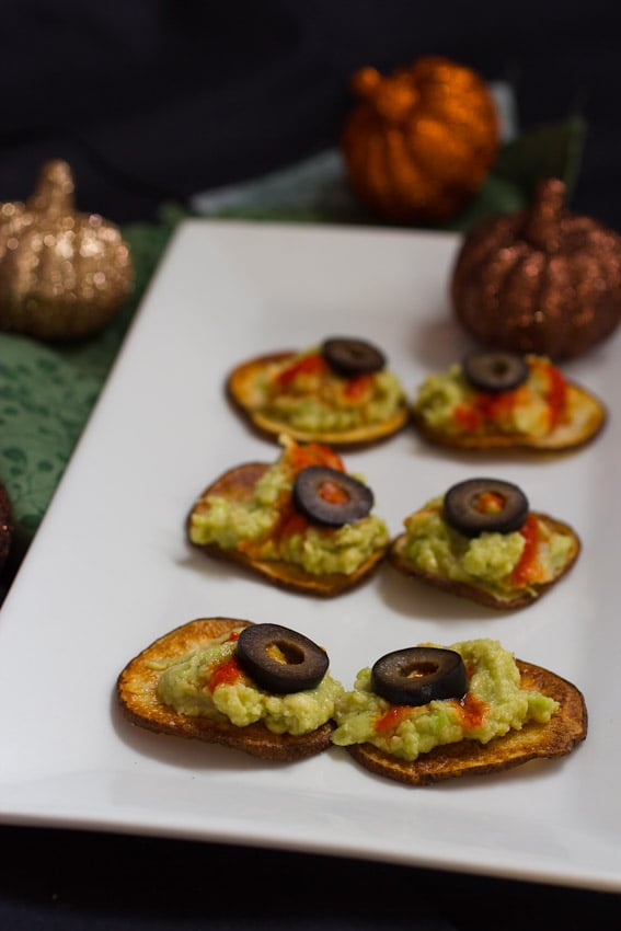 Roasted Potato Eyeballs- great appetizer for Halloween from The Girl In The Little Red Kitchen