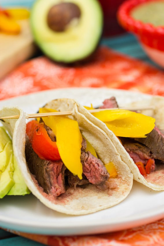 Skirt Steak Tacos with Roasted Peppers #WeekdaySupper from The Girl In The Little Red Kitchen