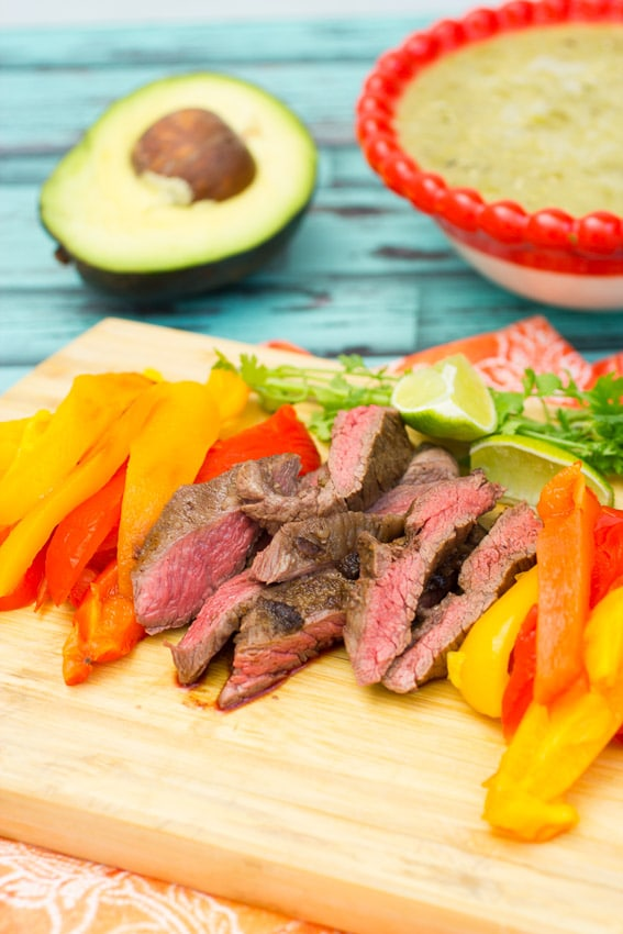 Skirt Steak Tacos with Roasted Peppers from The Girl In The Little Red Kitchen