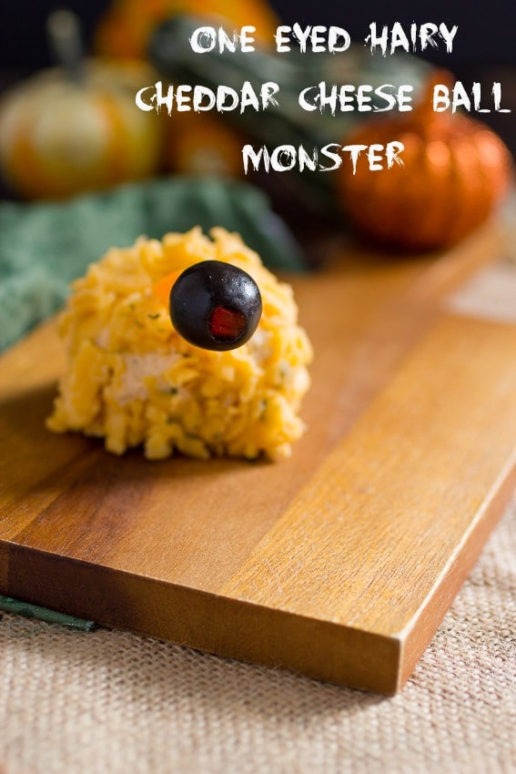 Halloween One Eyed Hairy Cheddar Cheese Ball Monster from The Girl In The Little Red Kitchen