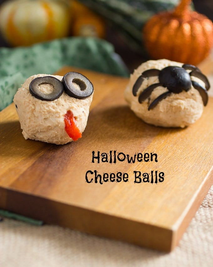 Halloween Cheese Ball Monsters from The Girl In The Little Red Kitchen