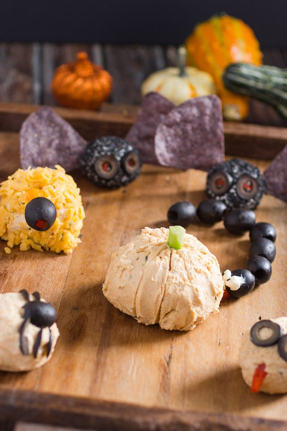 Halloween Cheese Ball Monsters | The Girl In The Little Red Kitchen