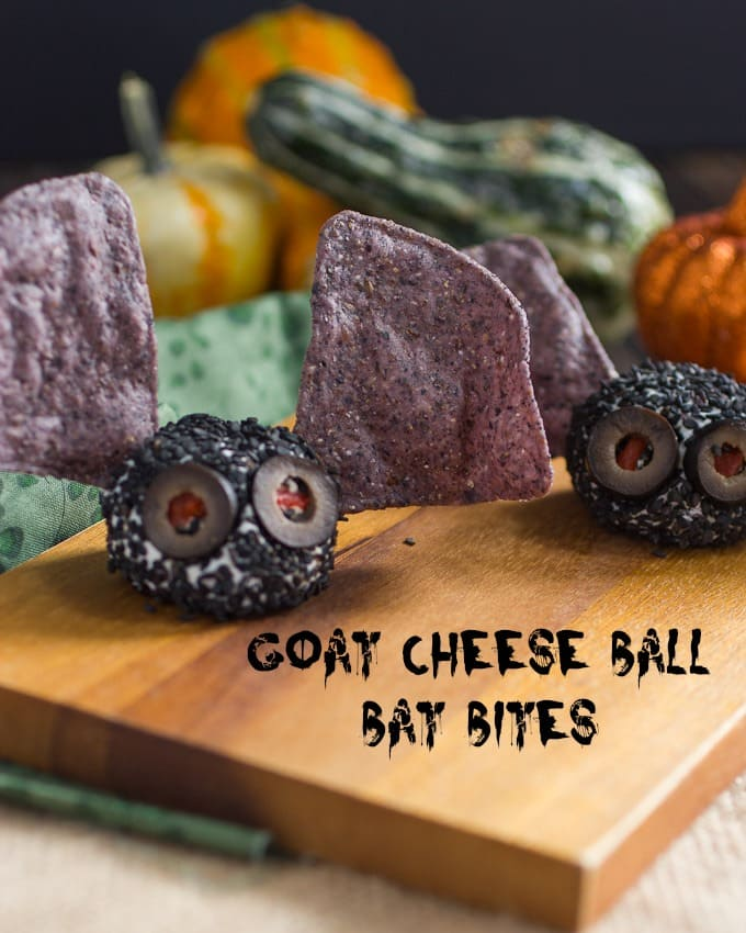 Halloween Goat Cheese Ball Bat Bites from The Girl In the Little Red Kitchen