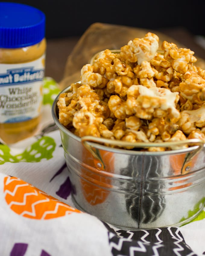Peanut Butter White Chocolate Popcorn | The Girl In the Little Red Kitchen