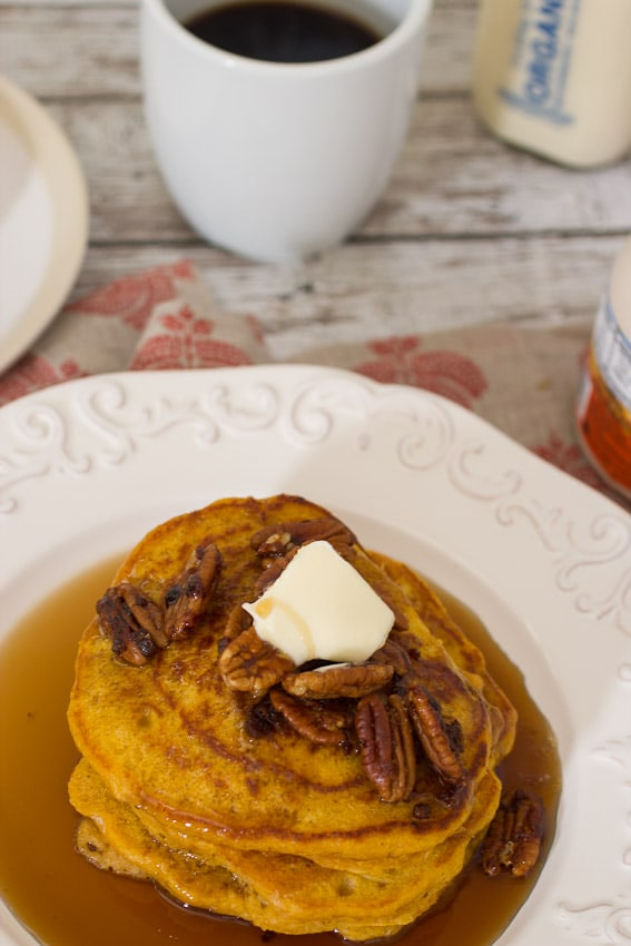 Pecan Pumpkin Oat Pancakes from The Girl In The Little Red Kitchen