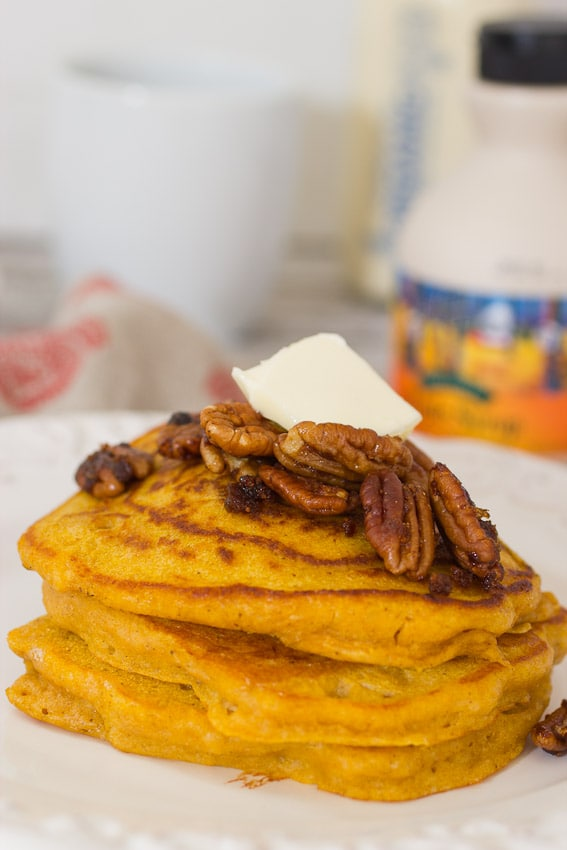 Candied Pecan Pumpkin Oat Pancakes from The Girl In The Little Red Kitchen