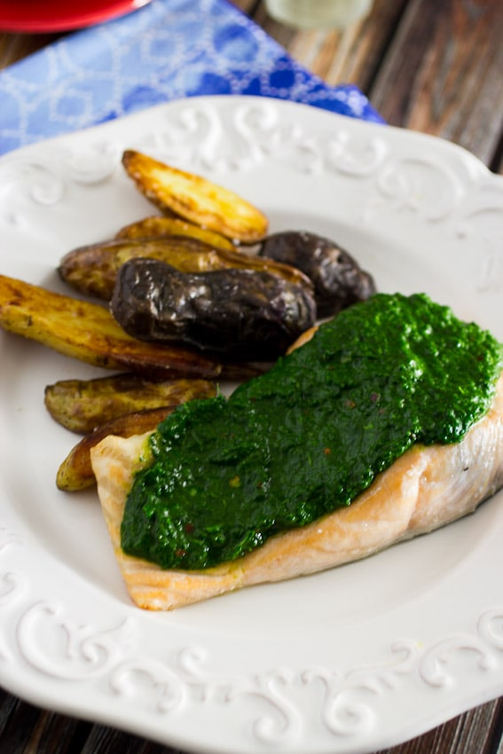 Salmon with Kale Chimichurri #WeekdaySupper from The Girl In The Little Red Kitchen