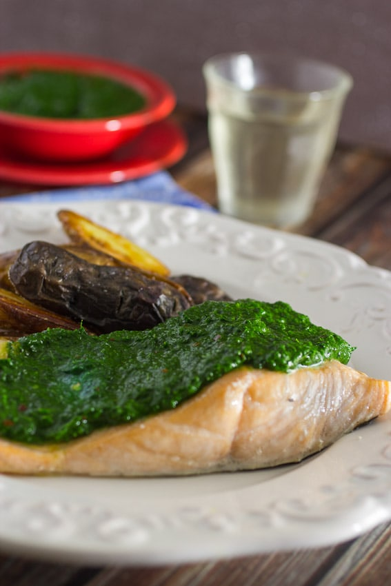 Salmon with Kale Chimichurri- The Girl In The Little Red Kitchen