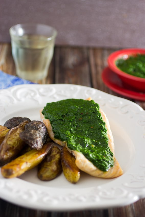 Salmon with Kale Chimichurri | The Girl In The Little Red Kitchen