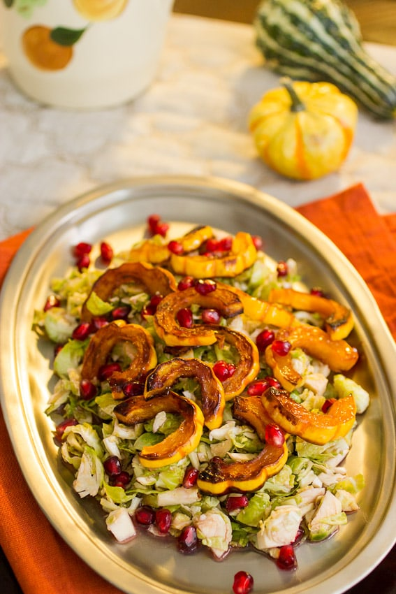 Brussels Sprouts Squash and Pomegranate Salad- The Girl In The Little Red Kitchen