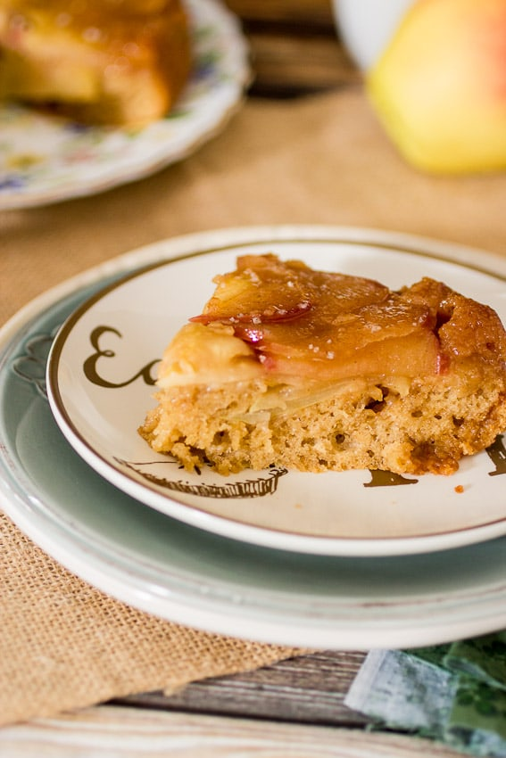Caramel Apple Upside Down Cake | girlinthelittleredkitchen.com