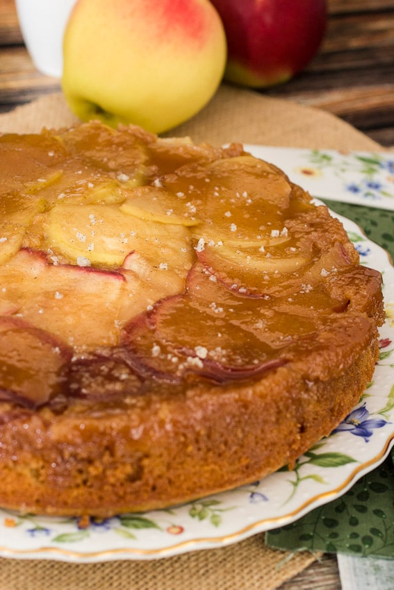 Caramel Apple Upside Down Cake from girlinthelittleredkitchen.com