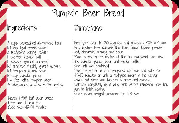 Pumpkin Beer Bread Recipe Printable