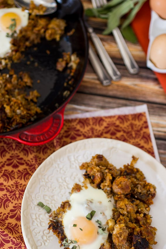Stuffing Hash #SundaySupper from The Girl In the Little Red Kitchen