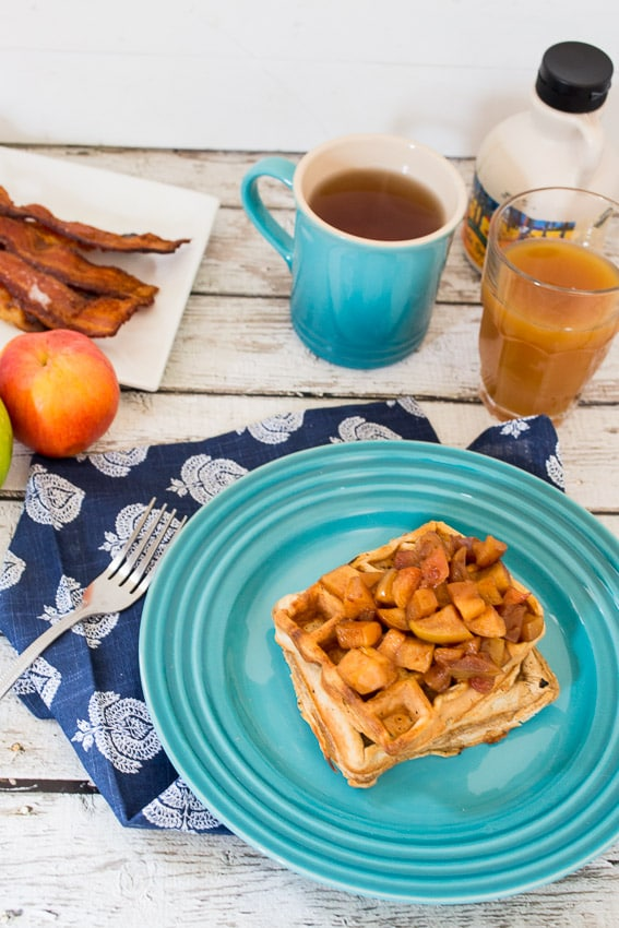 Apple Cider Waffles- The Girl In The Little Red Kitchen