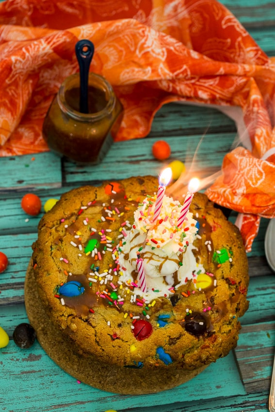 Monster Cookie Cake | girlinthelittleredkitchen.com