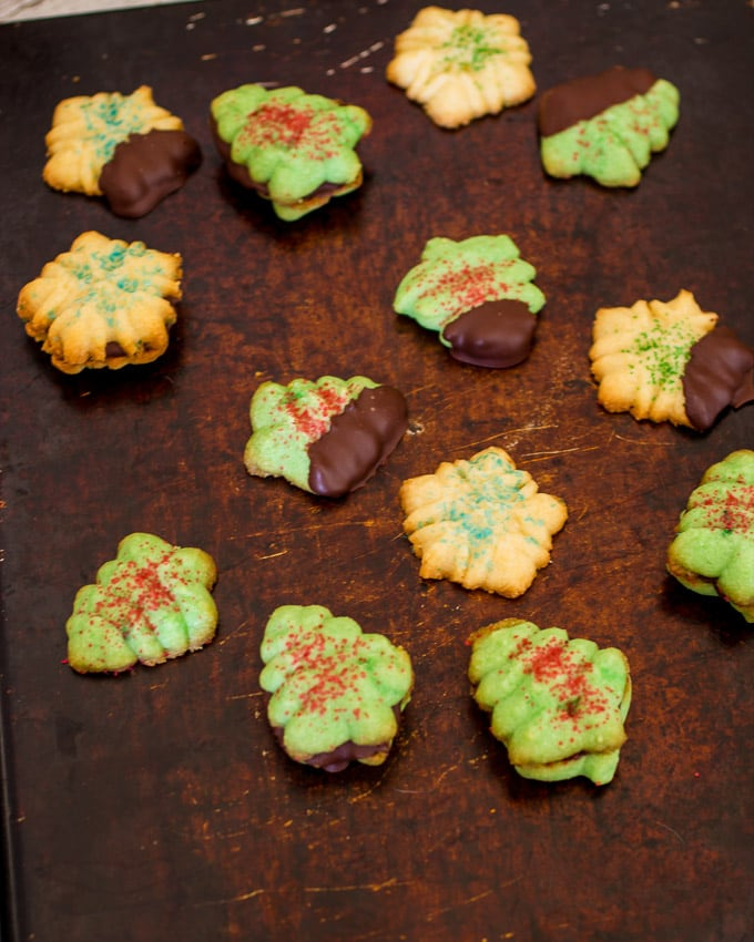 Peppermint Spritz Cookies- The Girl In The Little Red KItchen