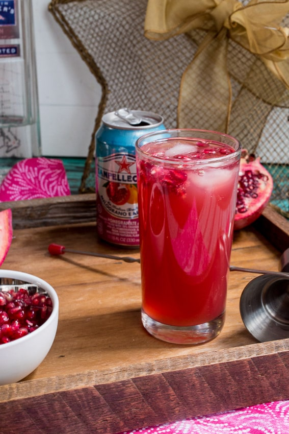 Pomegranate Gin Fizz | girlinthelittleredkitchen.com