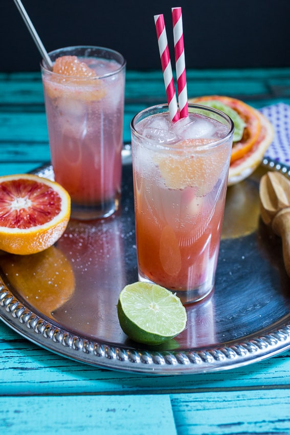 Blood Orange Bourbon Paloma | girlinthelittleredkitchen.com