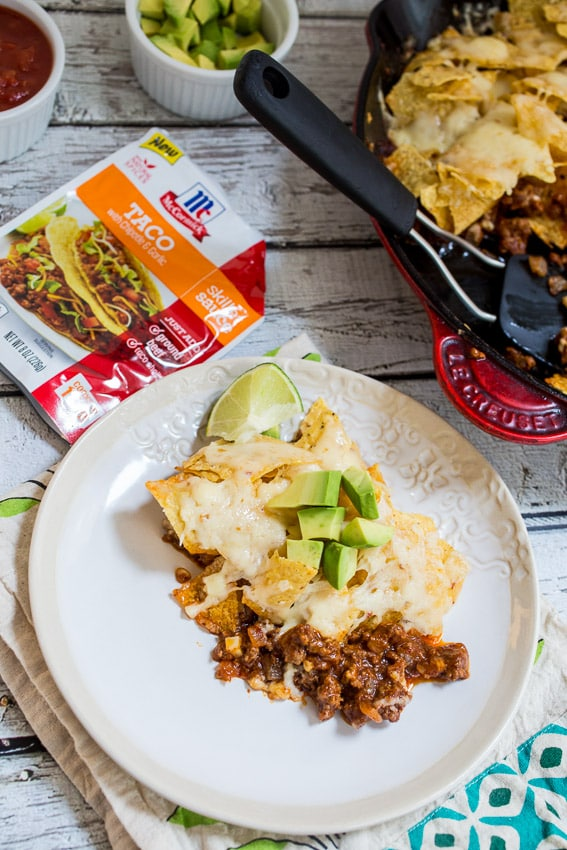 Skillet Taco Nacho Bake #SundaySupper #McSkilletSauce | The Girl In The Little Red Kitchen