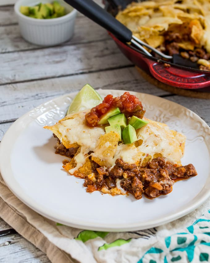 Skillet Taco Nacho Bake | girlinthelittleredkitchen.com