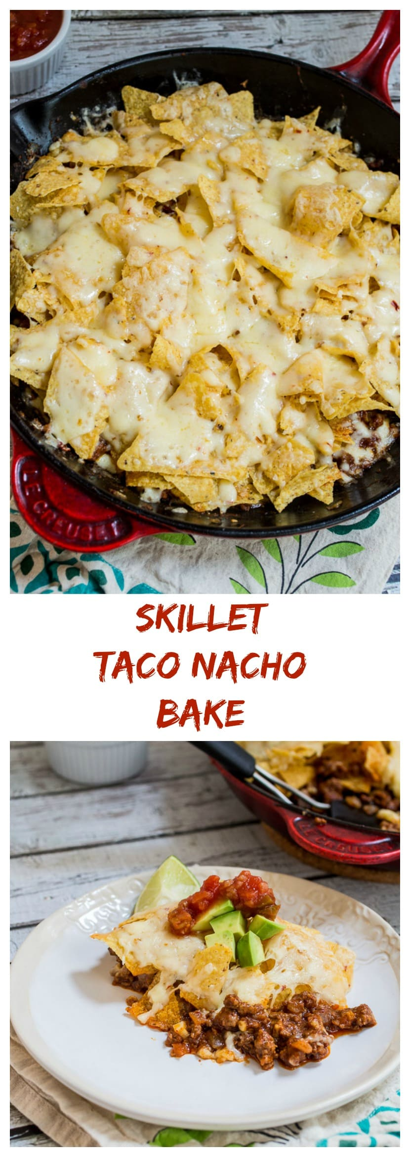 Skillet Taco Nacho Bake from The Girl In The Little Red Kitchen