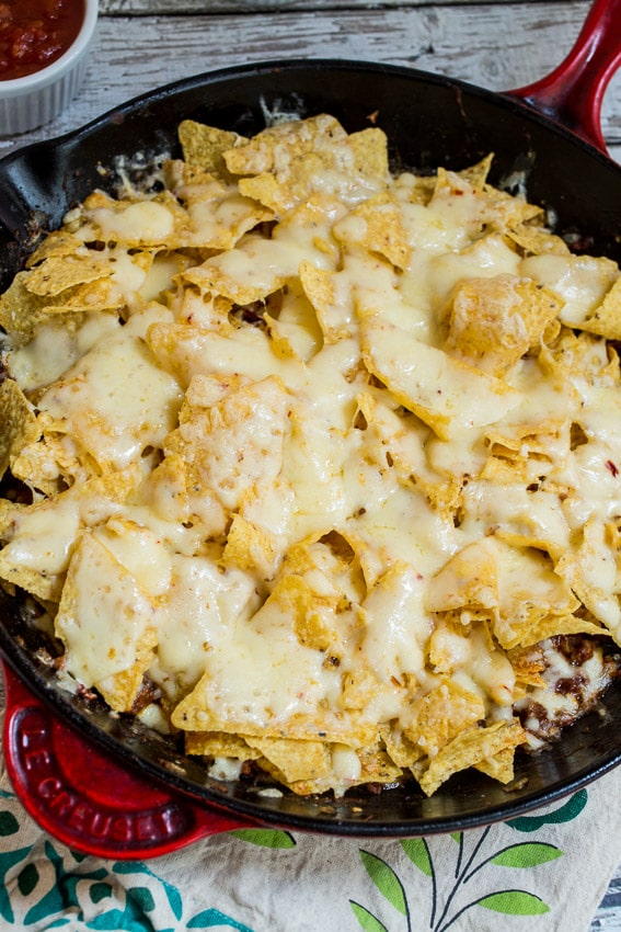 Skillet Taco Nacho Bake #SundaySupper from The Girl In The Little Red Kitchen