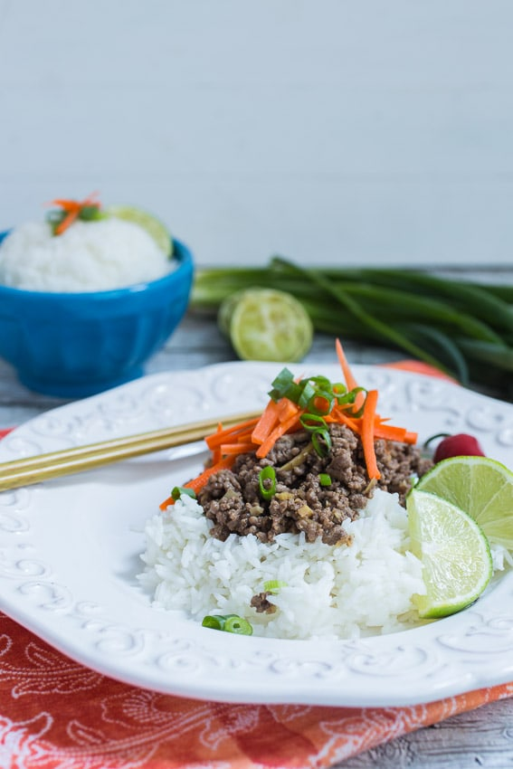 Thai Beef and Lemongrass Rice Bowl from The Girl In The Little Red Kitchen