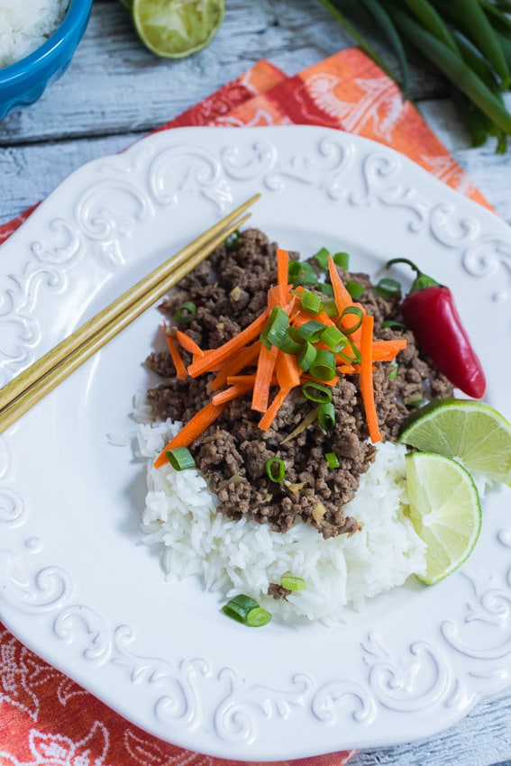 Thai Beef and Lemongrass Rice Bowl | The Girl In The Little Red Kitchen