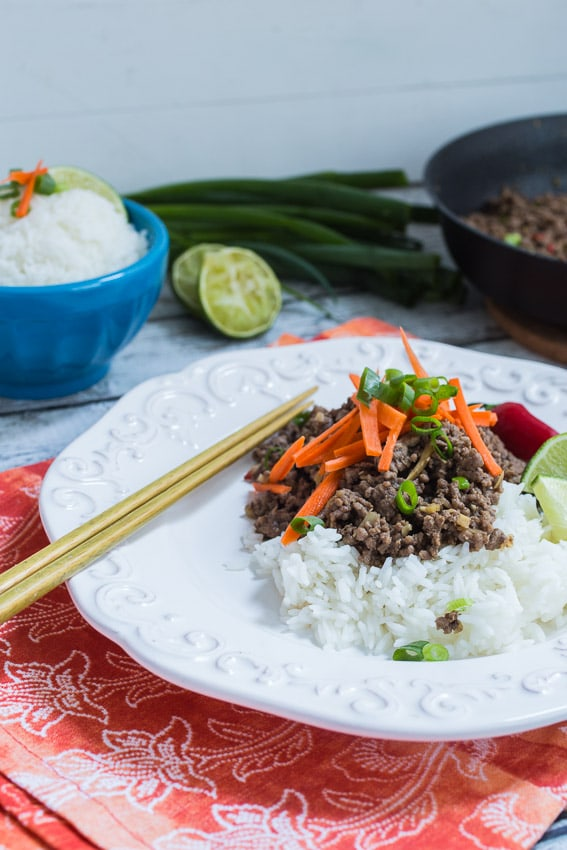 Thai Beef and Lemongrass Rice Bowl - The Girl In The Little Red Kitchen