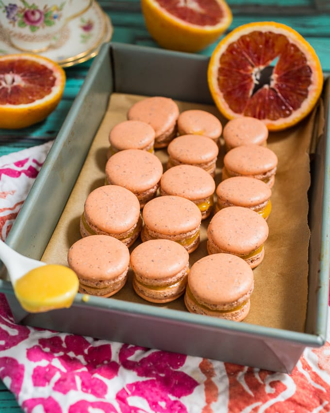 Blood Orange Macarons from girlinthelittleredkitchen.com