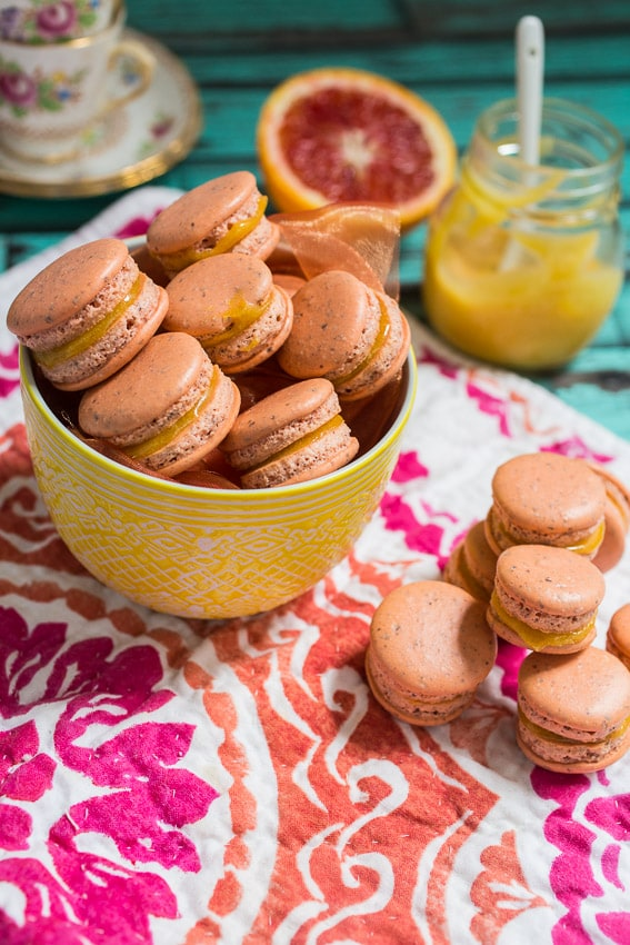 Blood Orange Macarons from The Girl In The LIttle Red Kitchen