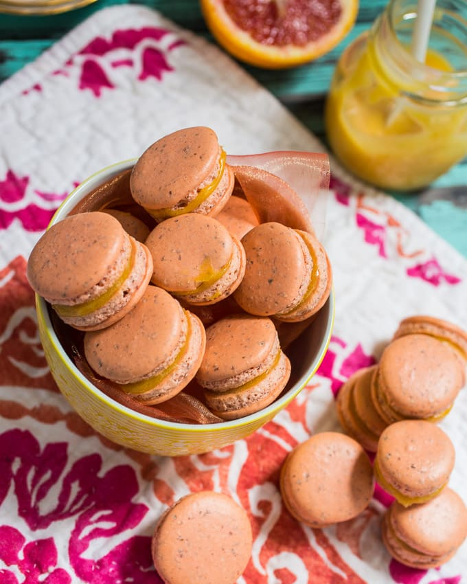 Blood Orange Macarons- girlinthelittleredkitchen.com