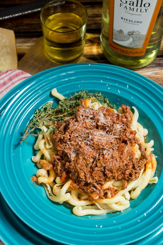 Braised Lamb Ragu #SundaySupper #GalloFamily from The Girl In The Little Red Kitchen