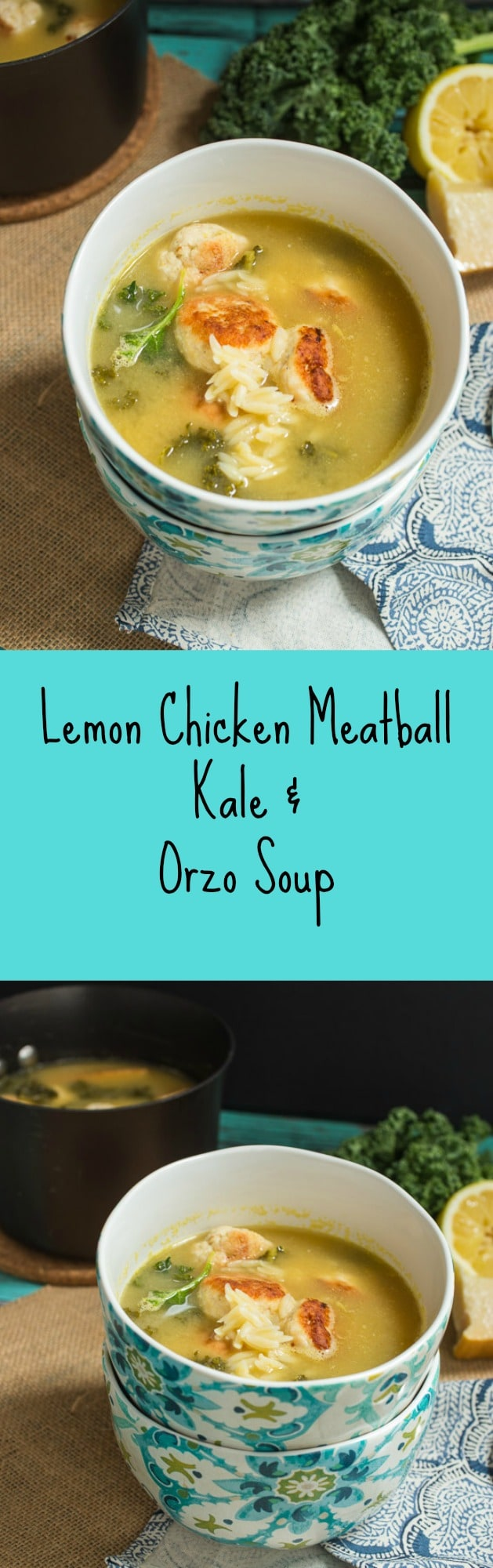 Lemon Chicken Meatball, Kale and Orzo Soup | girlinthelittleredkitchen.com