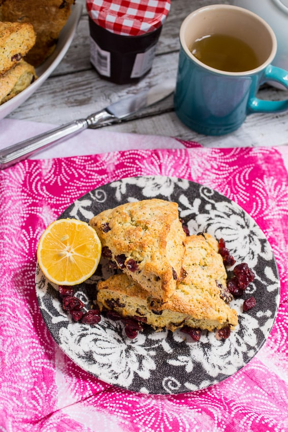 Meyer Lemon Cranberry Scones from The Girl In The Little Red Kitchen