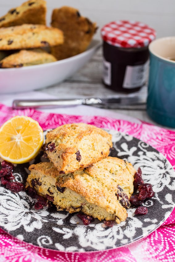 Meyer Lemon Poppy Cranberry Scones | girlinthelittleredkitchen.com
